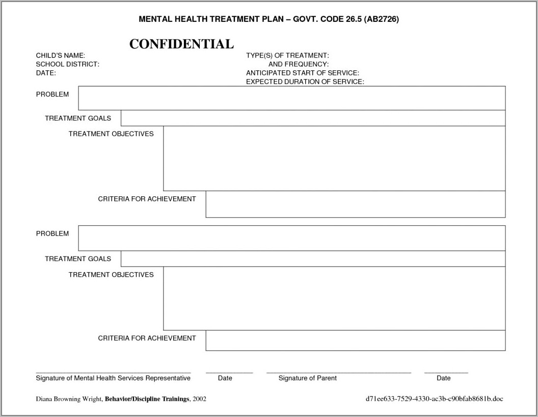 Substance Abuse Treatment Plan Form