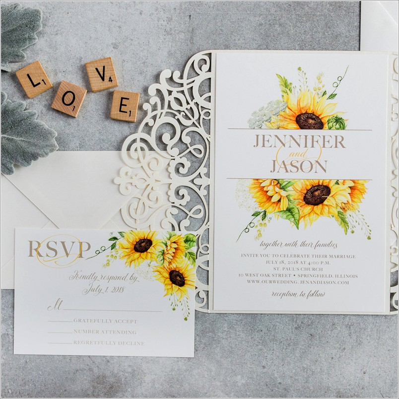 Sunflower And Rose Wedding Invitations