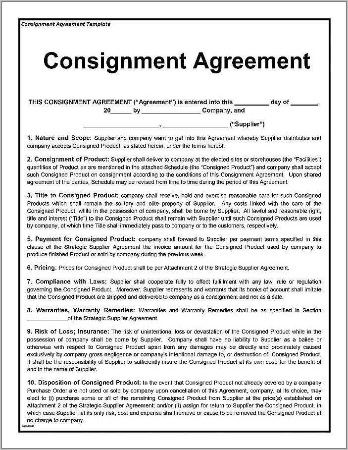 Supplier Agreement Template South Africa
