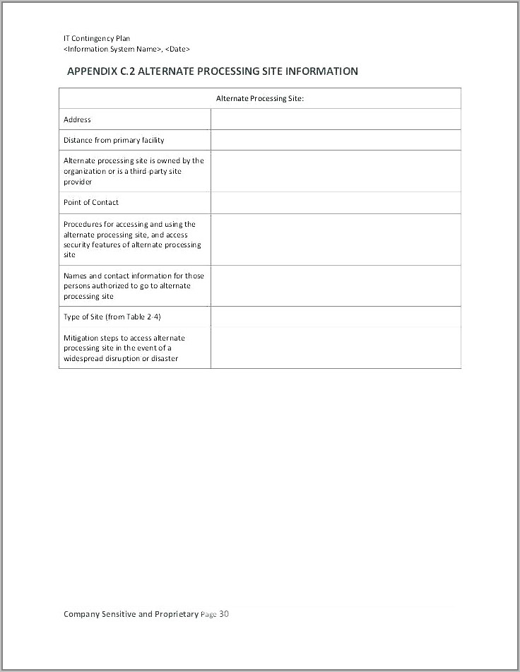 Supplier Contingency Plan Template