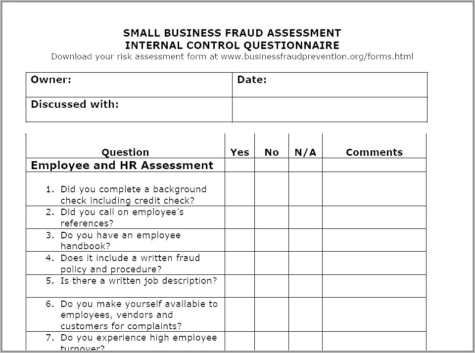 Supplier Risk Assessment Sample