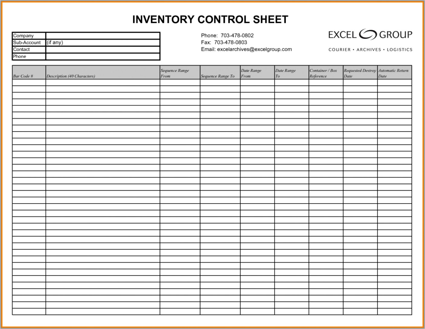 Supply Inventory Checklist Template