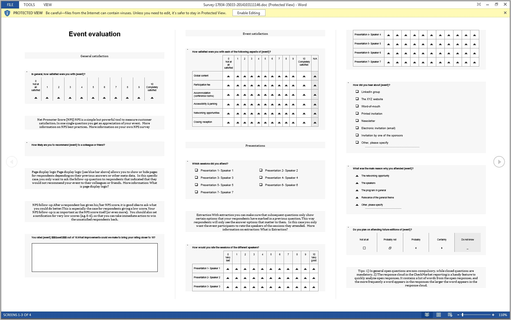 Survey Questions Template Word