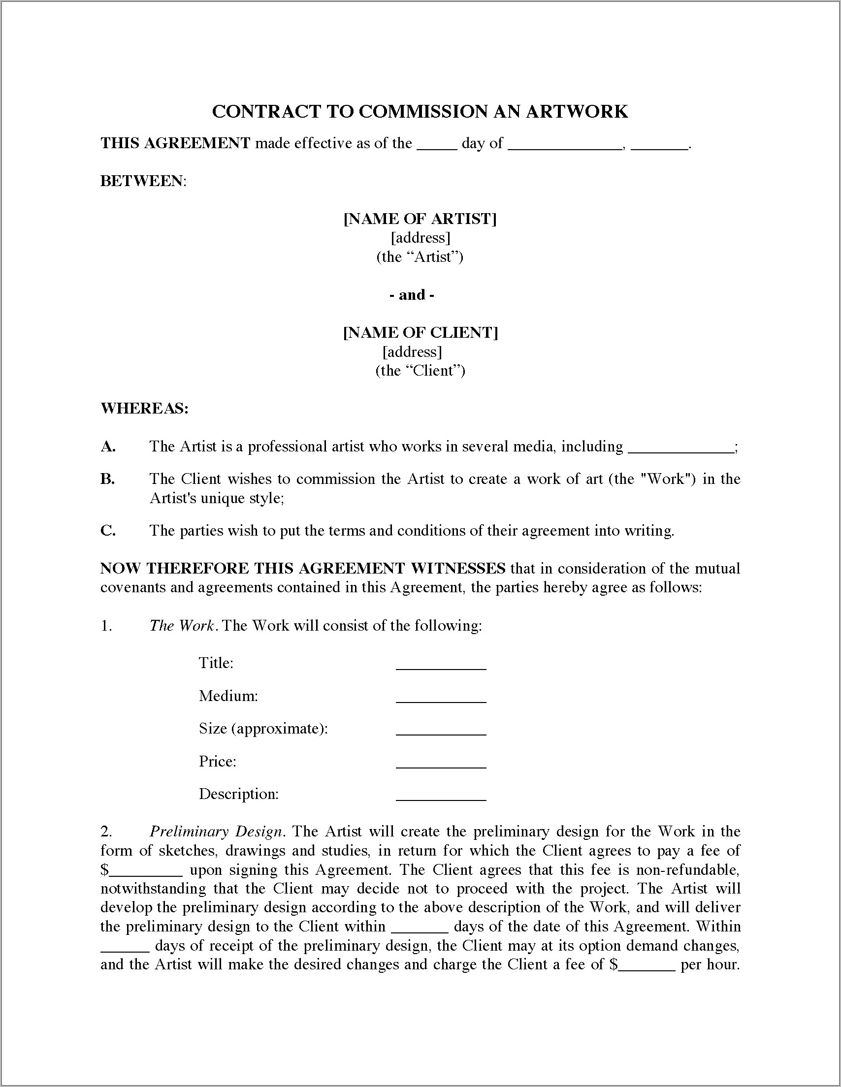 Sweat Equity Agreement Template