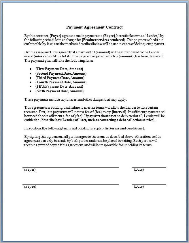 Take Over Car Payments Agreement Template