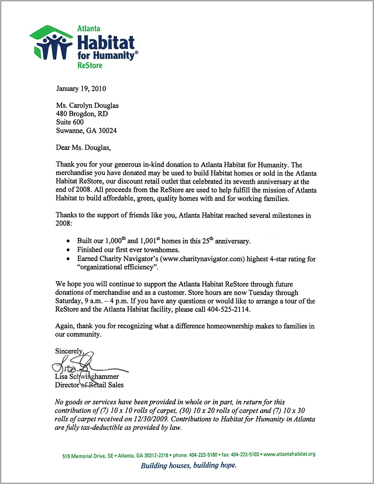 Tax Deductible Donation Thank You Letter Template