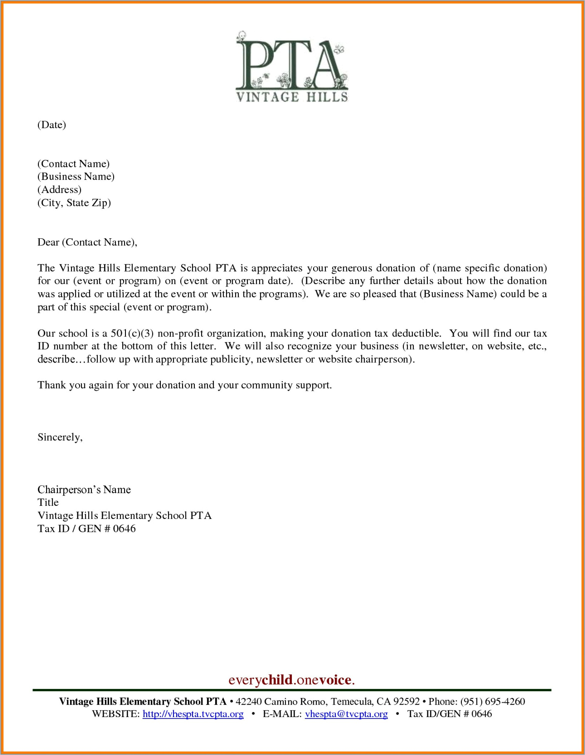 Tax Donation Letter Example