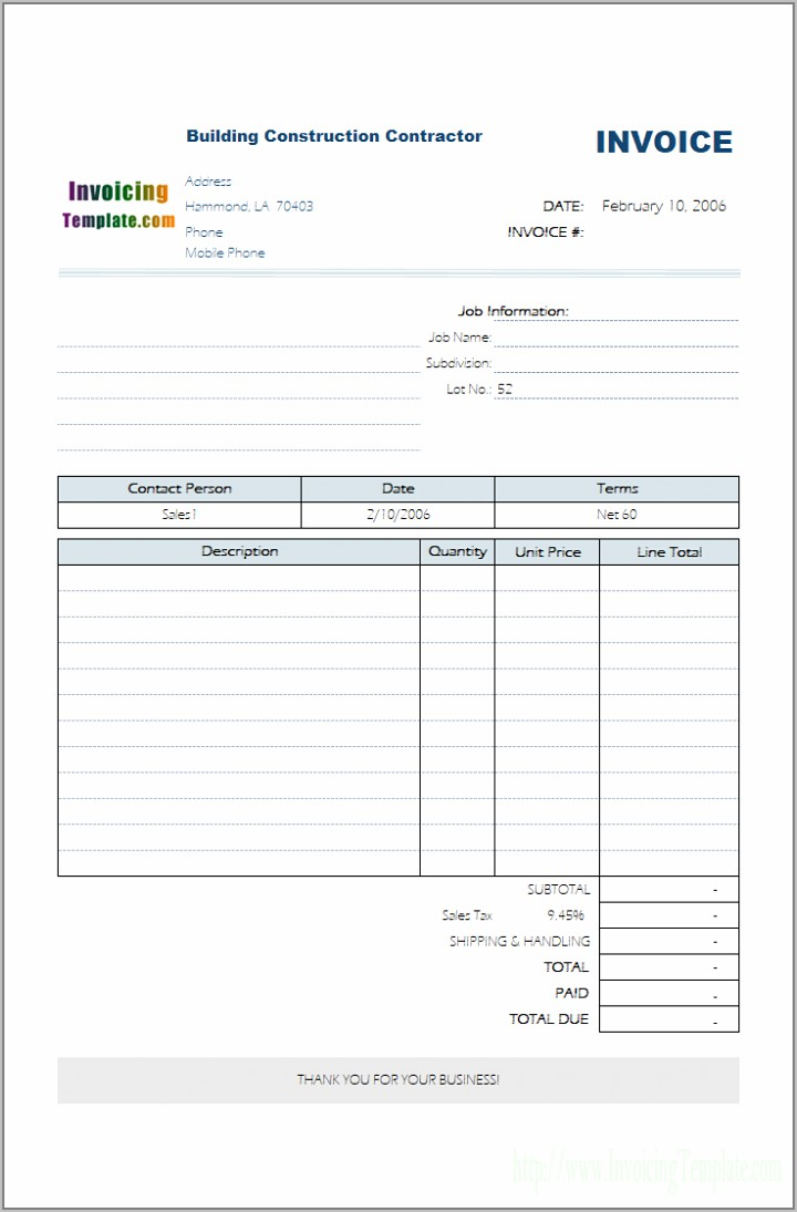 Tax Invoice Format In Word India