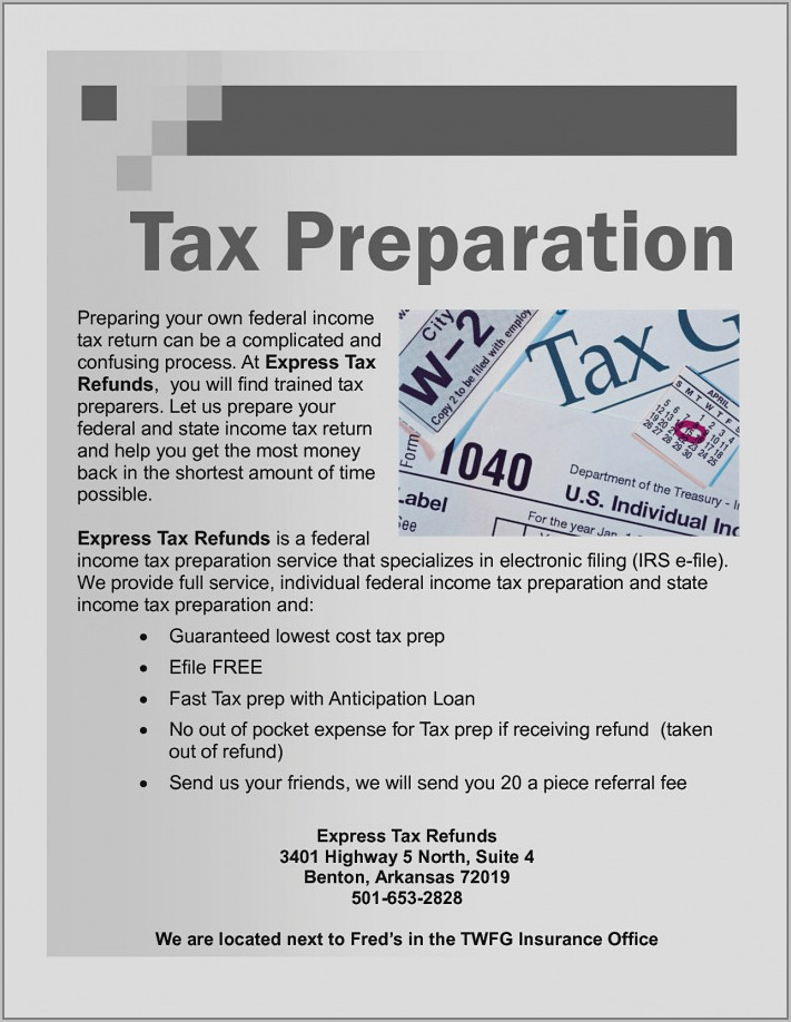Tax Preparation Flyer Template Free