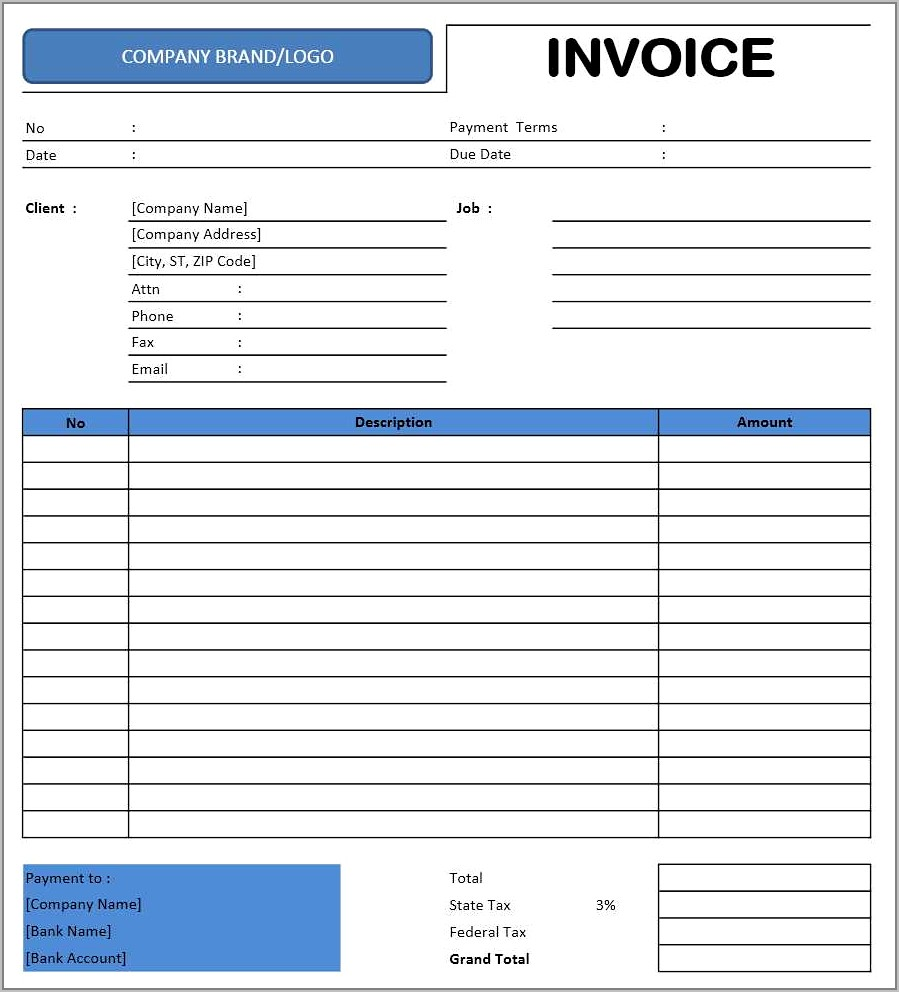 Taxi Invoice Format Template