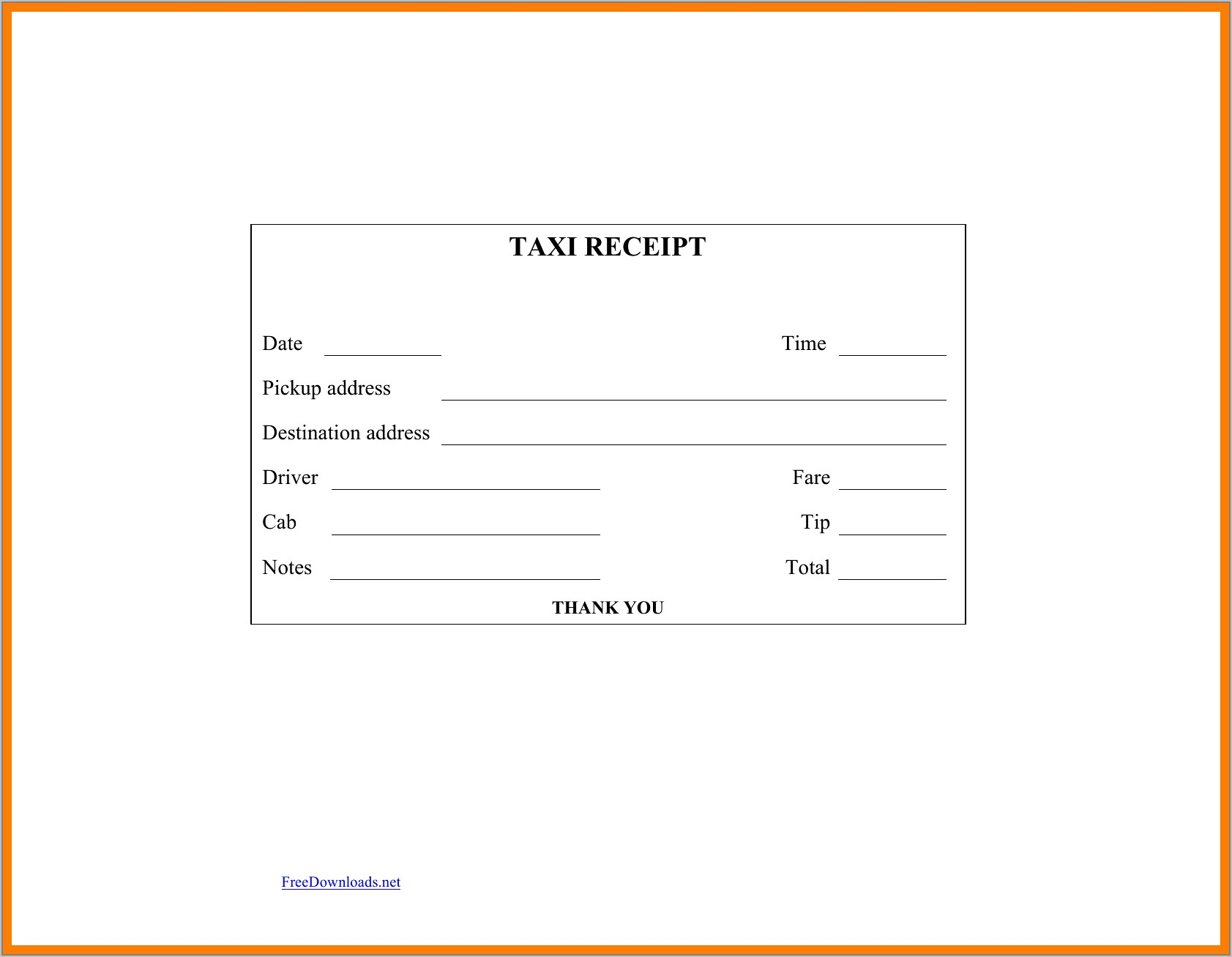 Taxi Invoice Template Word