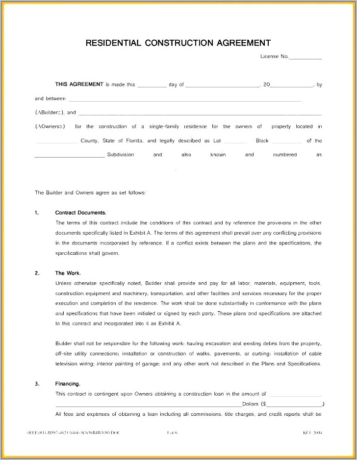 Template Building Contractor Agreement
