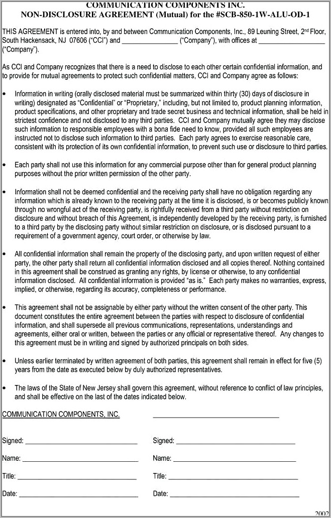 Template Contract Agreement Between Two Companies