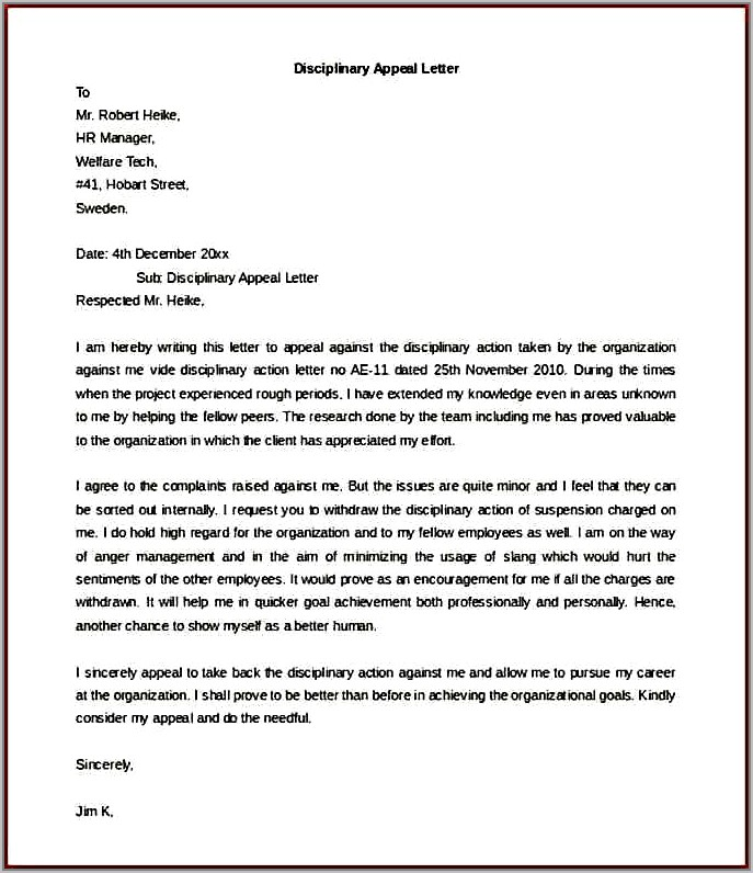 Template Disciplinary Appeal Letter
