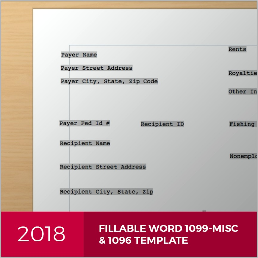 Template For 1099 Misc Microsoft Word