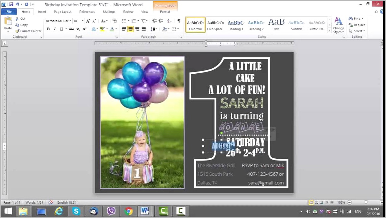Template For 1st Birthday Invitation