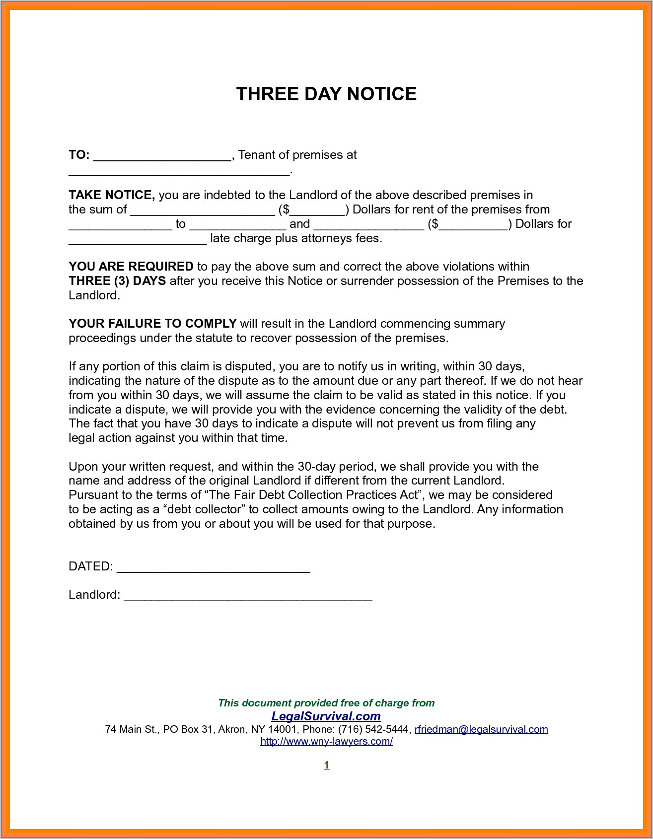 Template For 30 Days Notice To Landlord