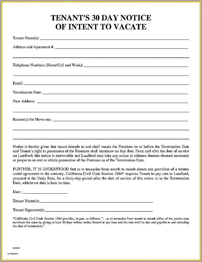 Template For 60 Day Notice To Vacate