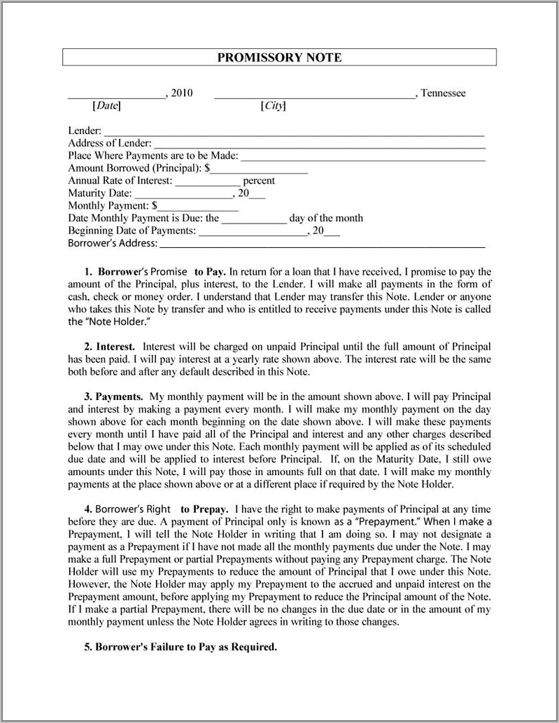 Template For A Promissory Note
