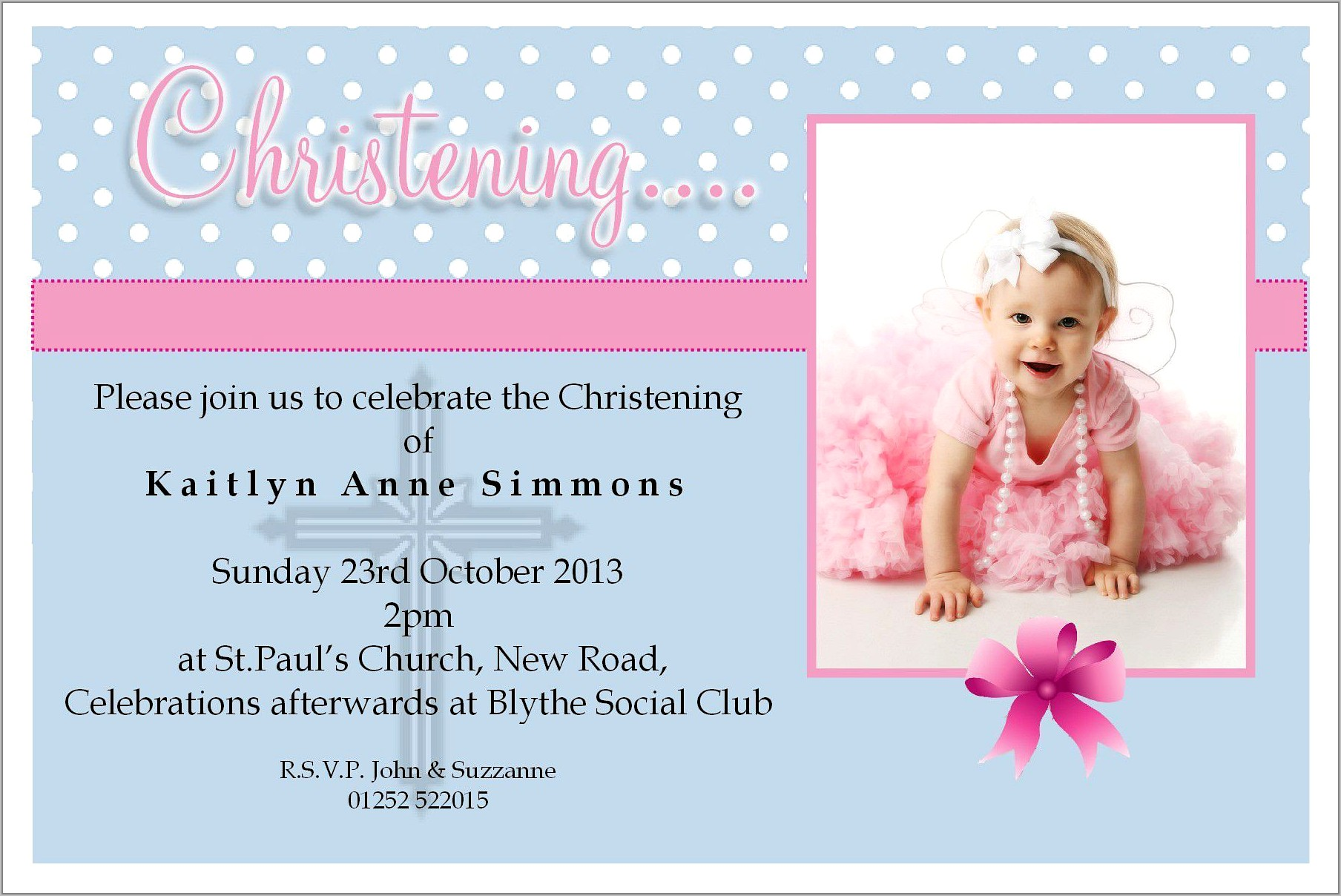 Template For Baptism Invitation