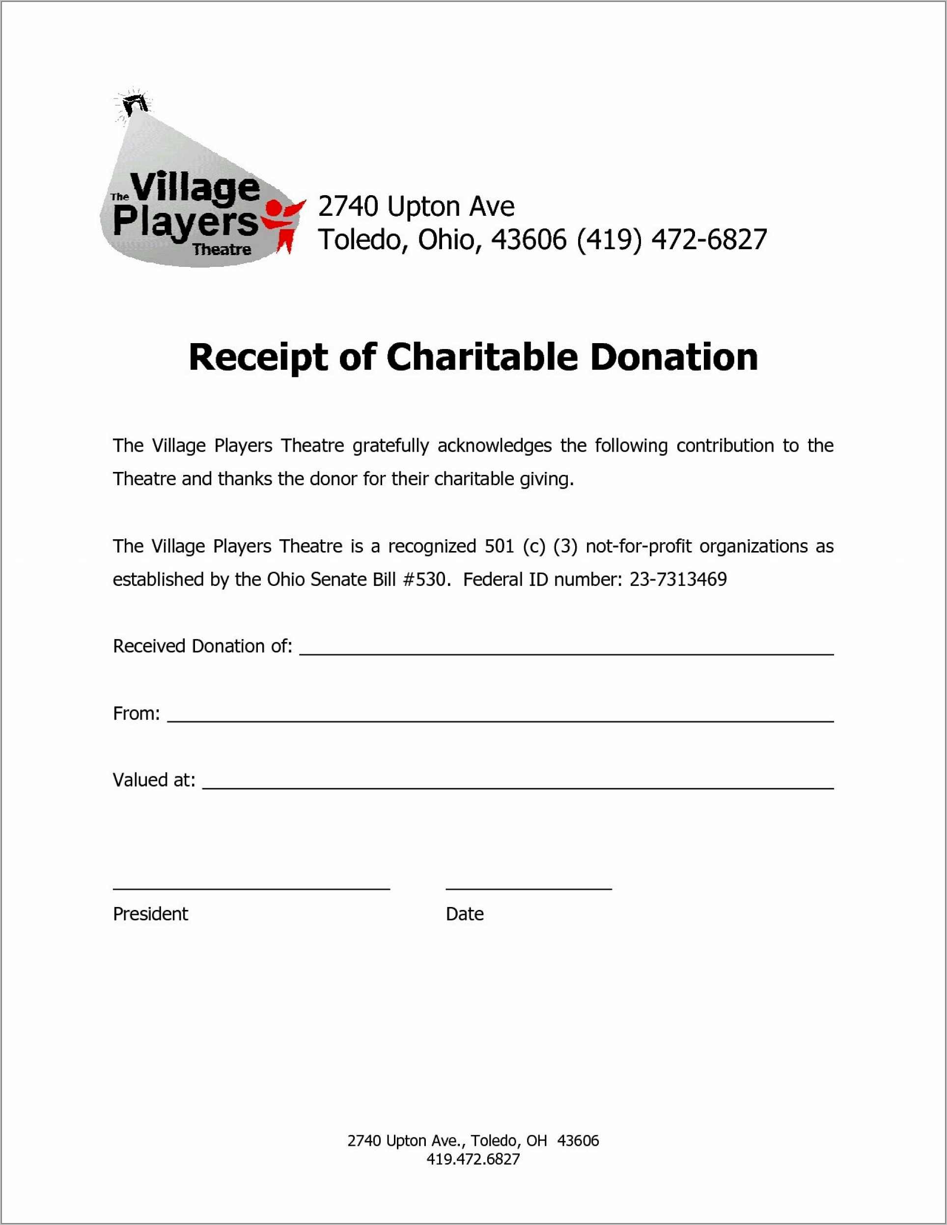 Template For Charity Donation Letter