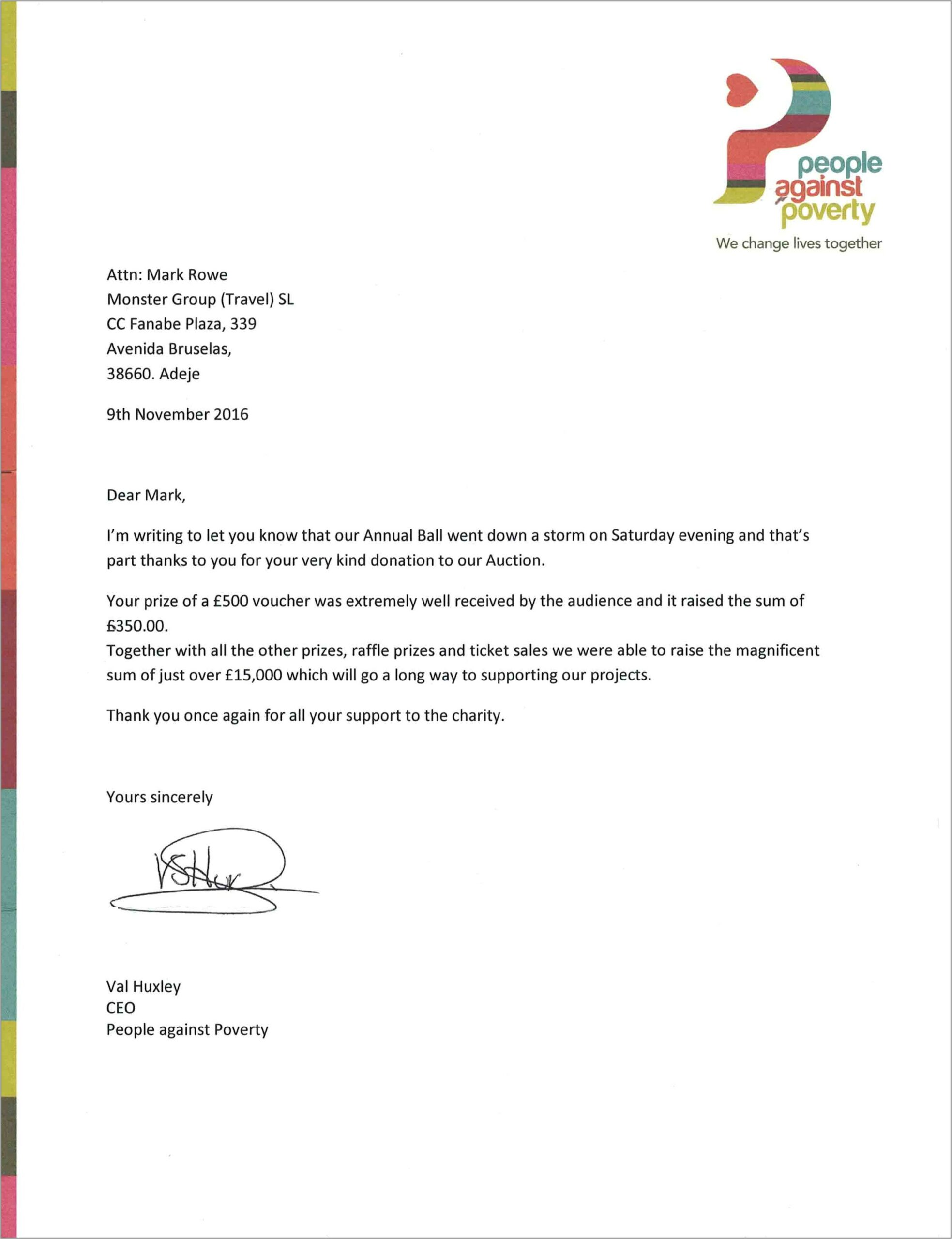 Template For Charity Letter
