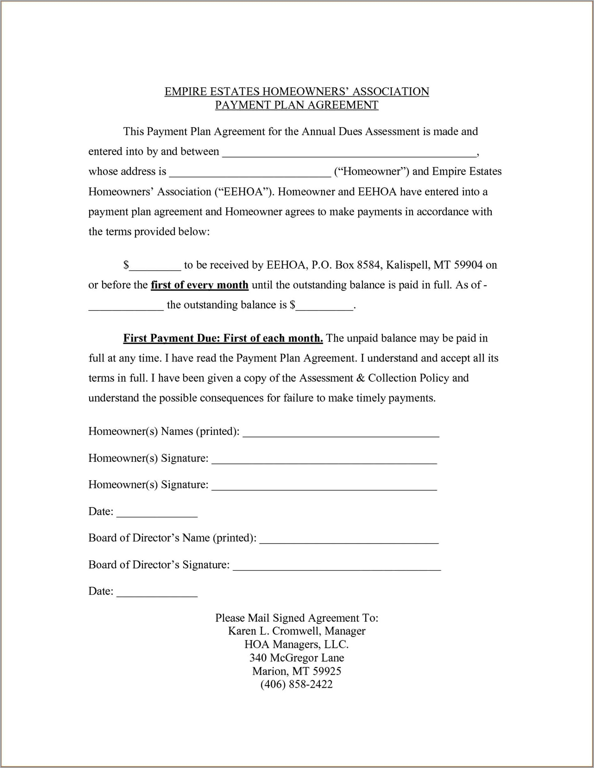 Template For Contract Agreement
