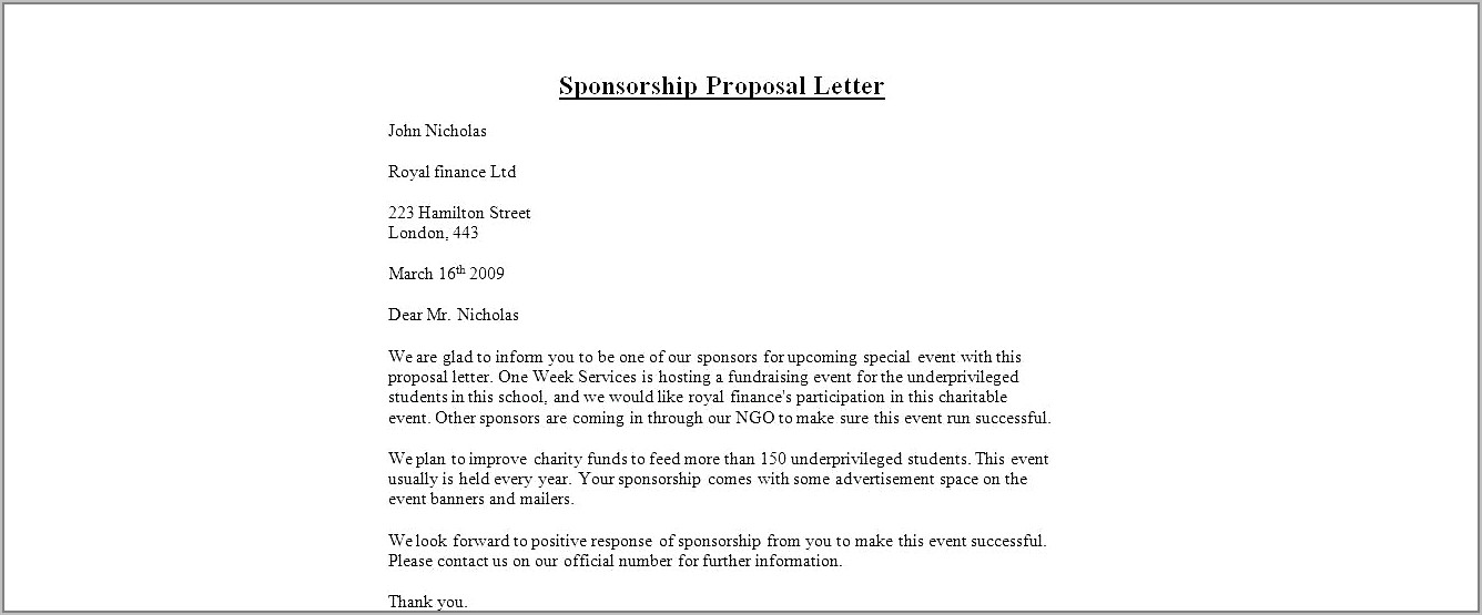Template For Corporate Sponsorship Proposal