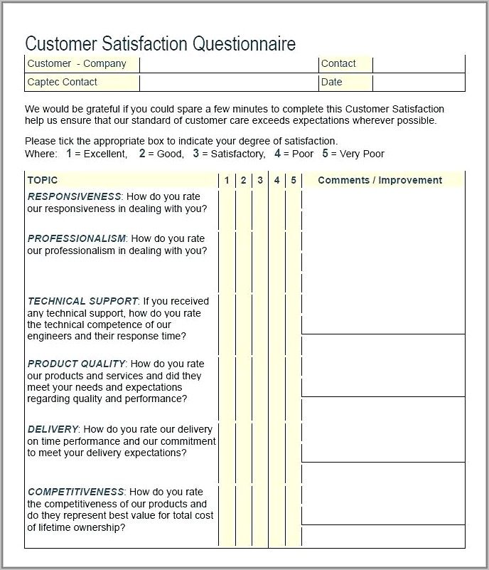 Template For Customer Satisfaction Survey Free