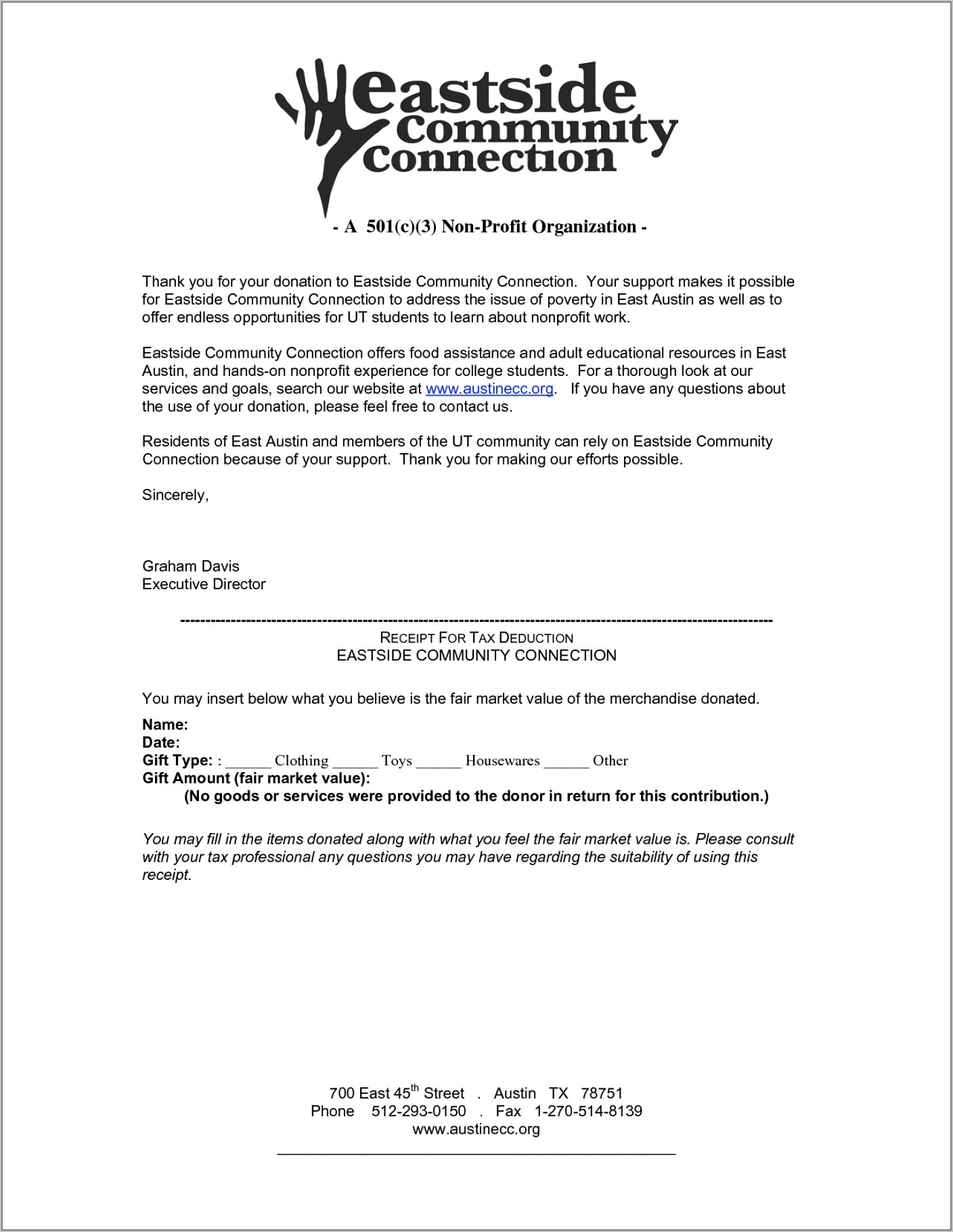 Template For Donation Letter For Non Profit