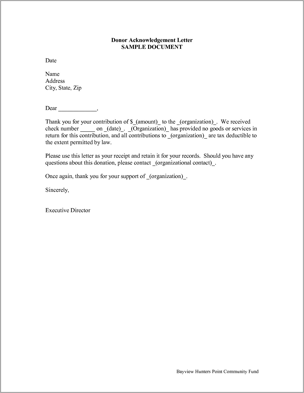 Template For Donation Receipt Letter