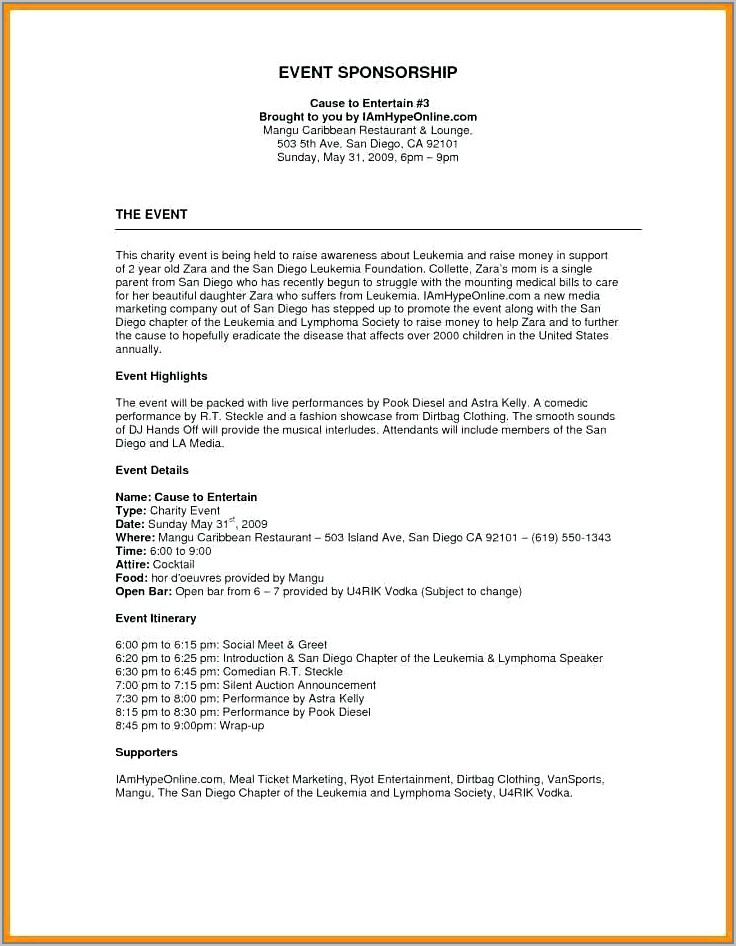 Template For Fundraiser Proposal