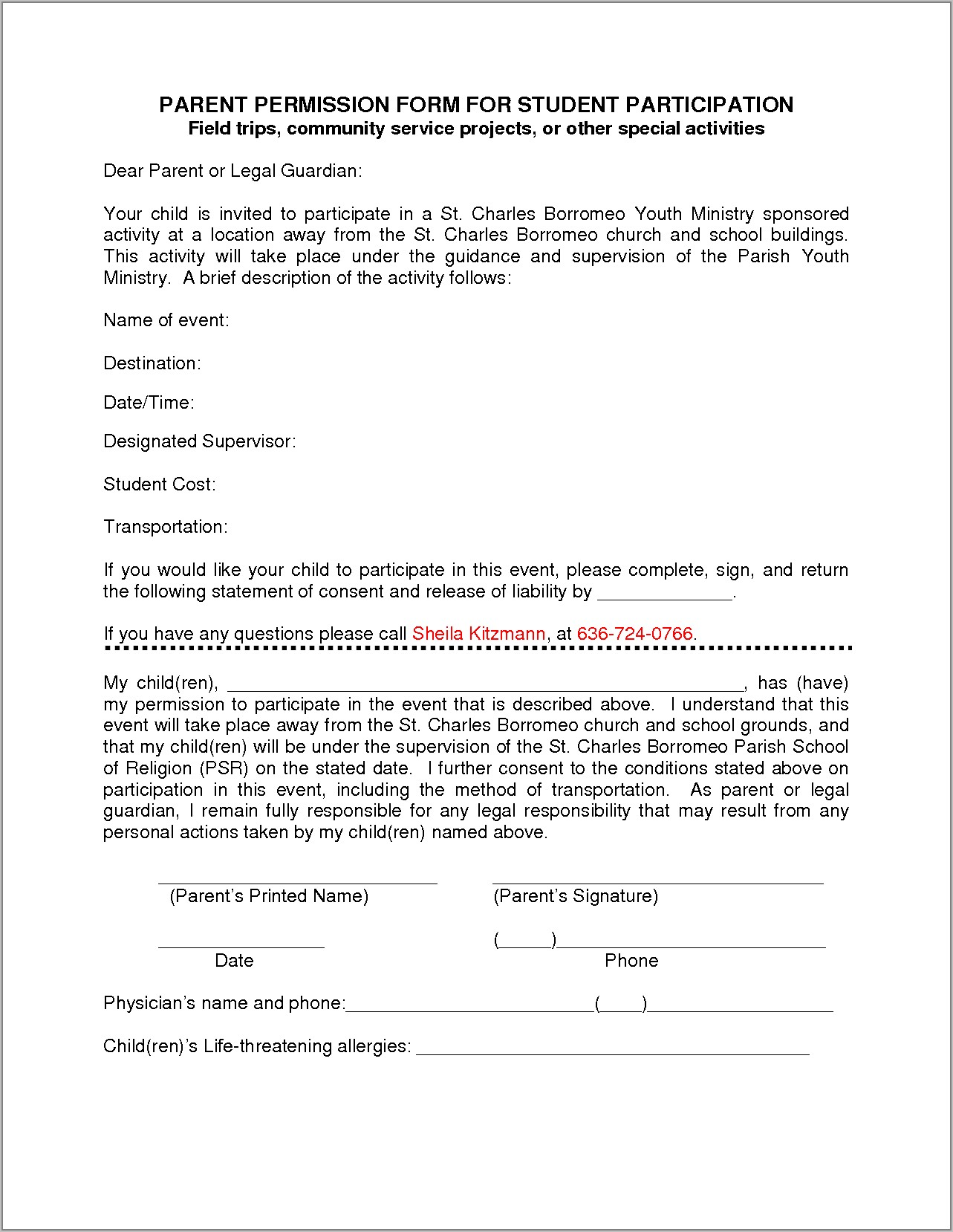 Template For Fundraising Form