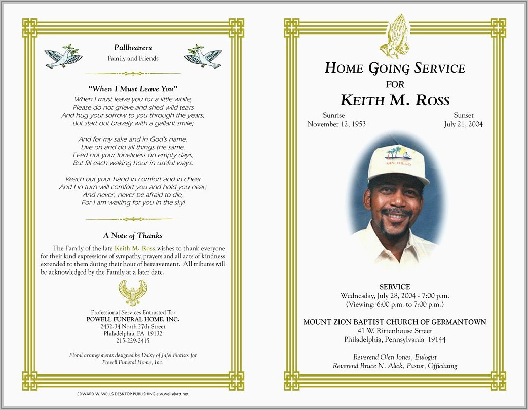 Template For Funeral Program Free