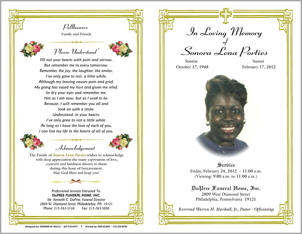 Template For Funeral Service Program