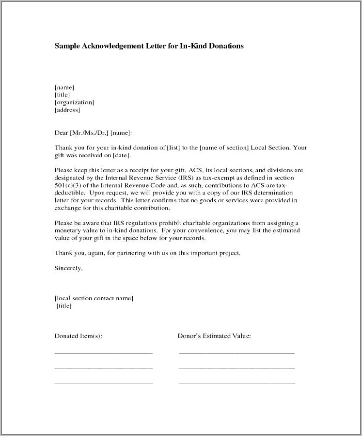 Template For In Kind Donation Letters