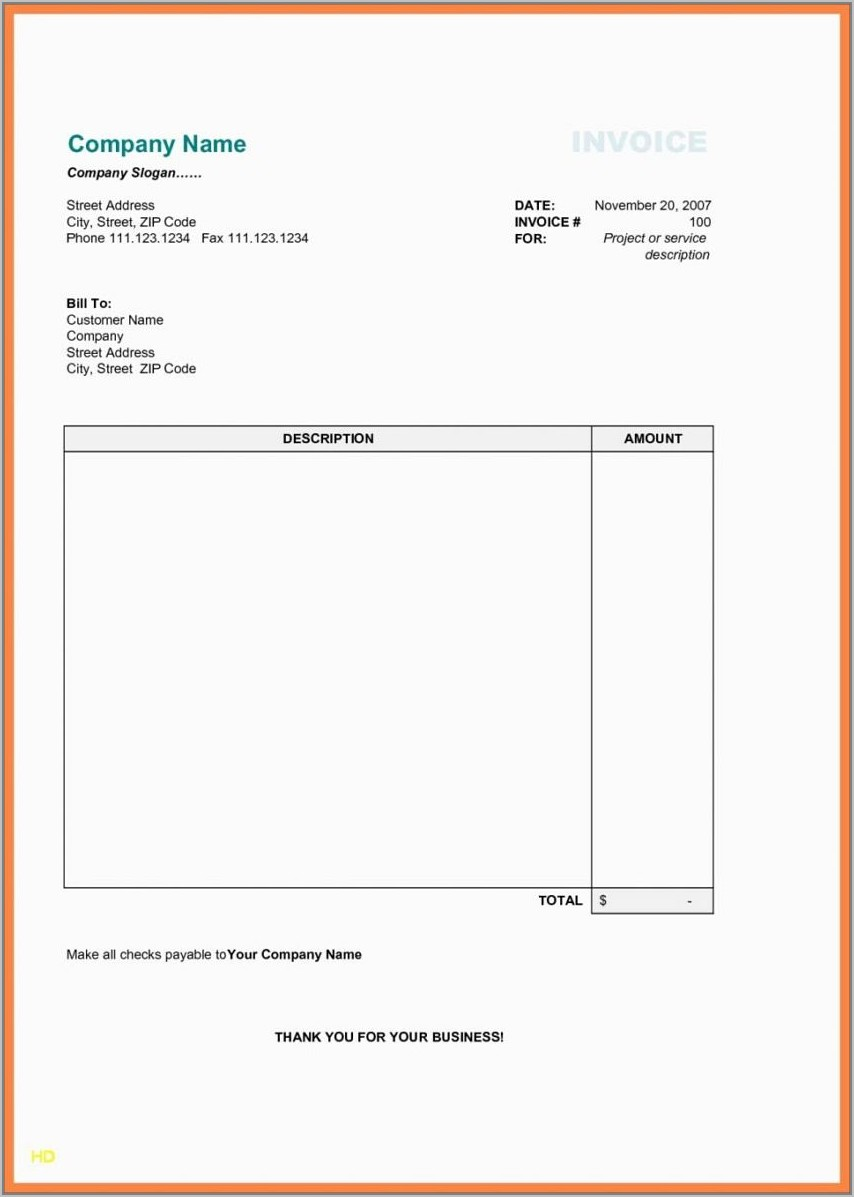 Template For Invoice Microsoft Word