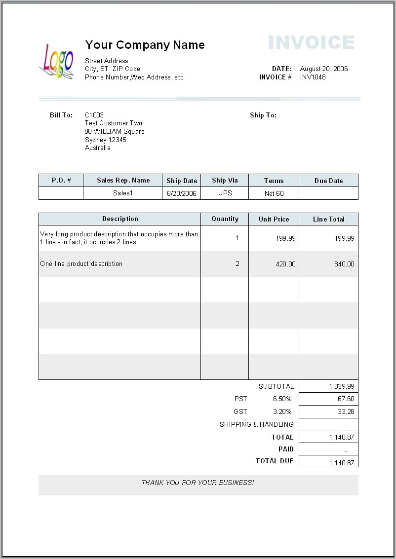 Template For Invoices Mac