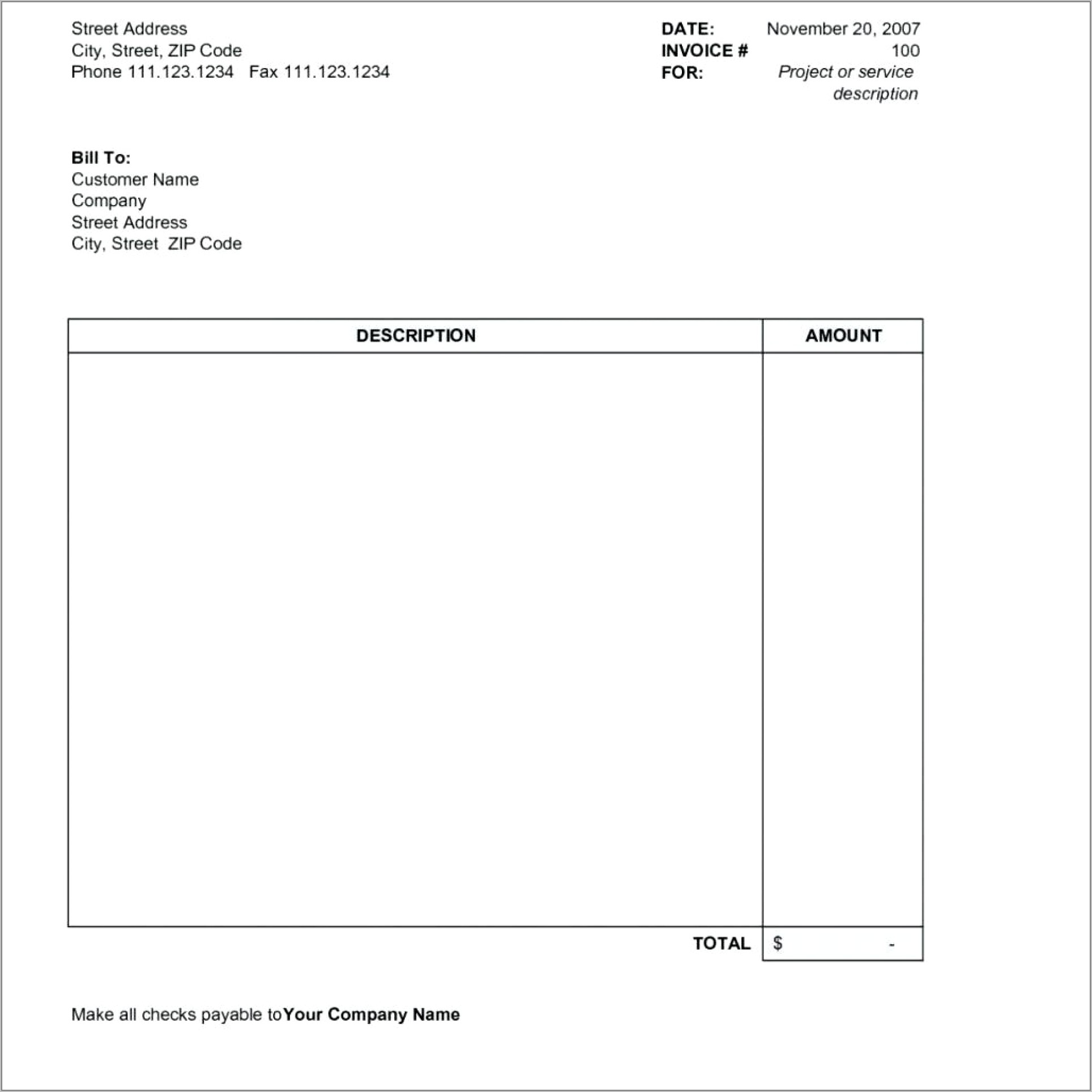 Template For Invoices Uk