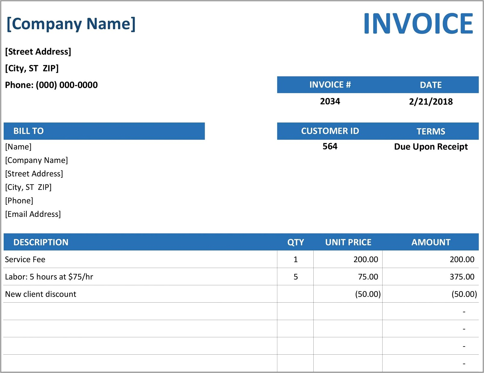 Template For Invoicing Hours Worked