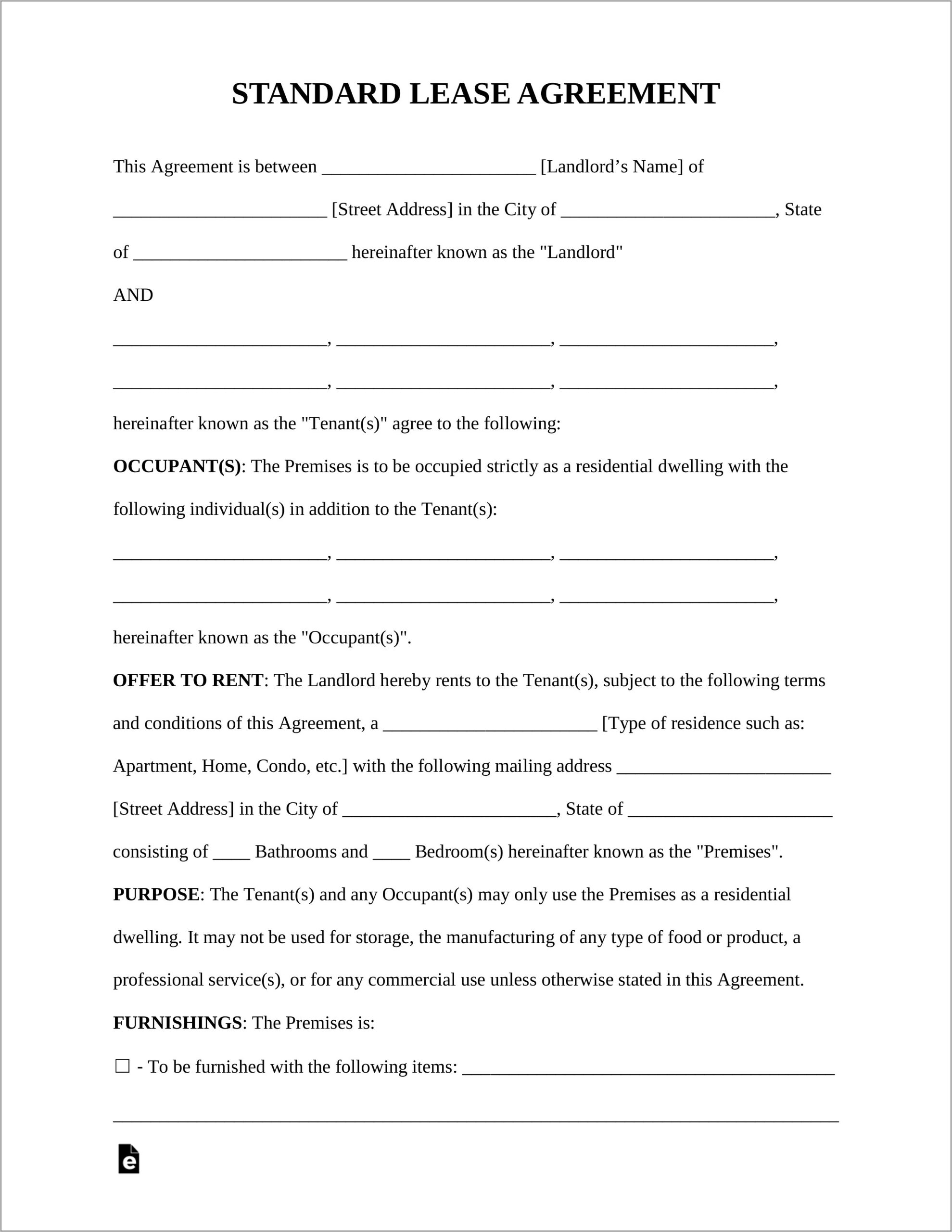 Template For Lease Agreement South Africa