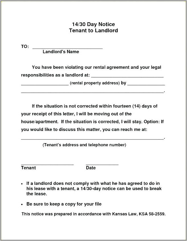 Template For Notice To Vacate House