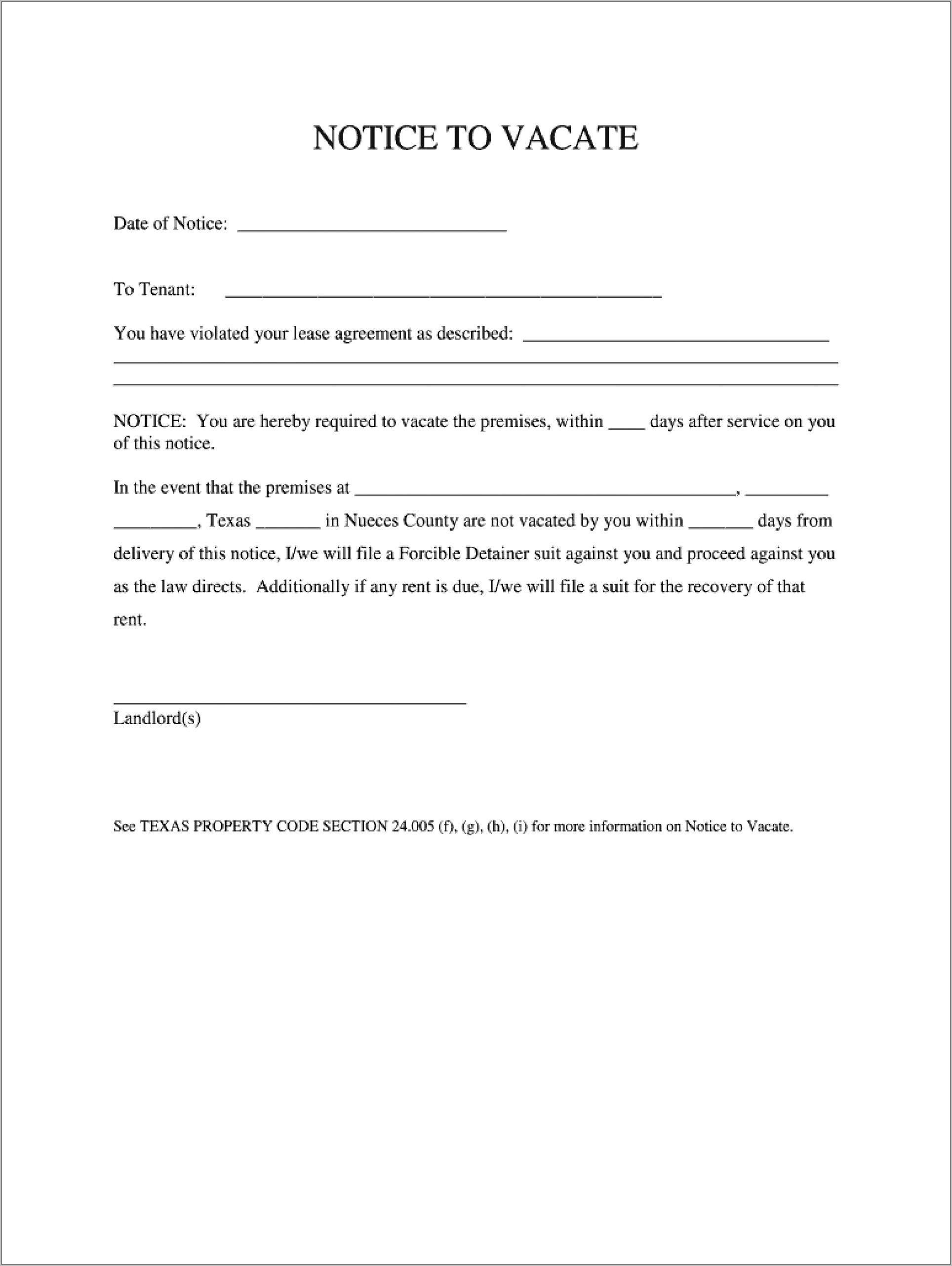 Template For Notice To Vacate Uk