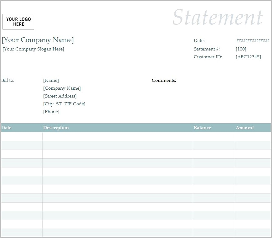 Template For Outstanding Invoice
