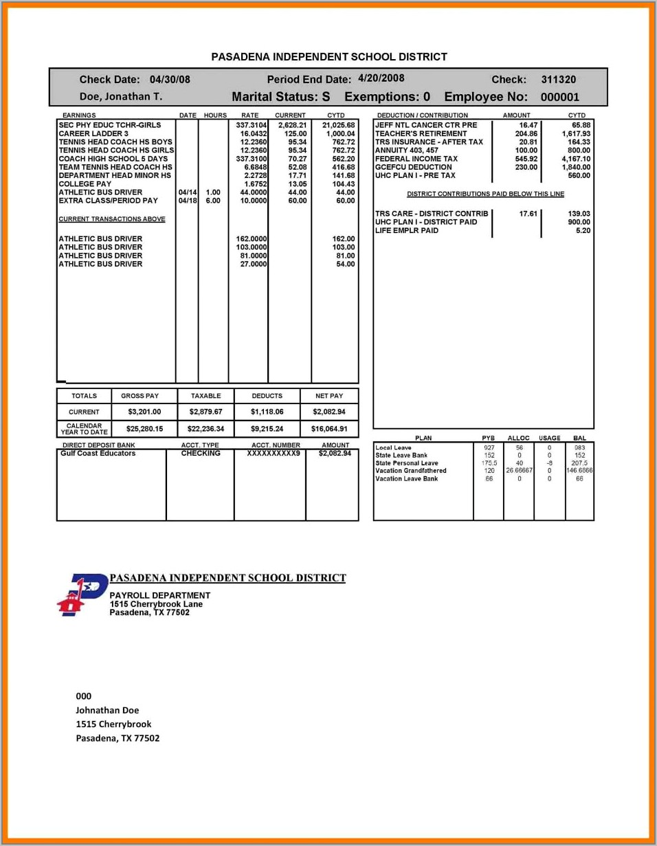 Template For Paycheck Stubs
