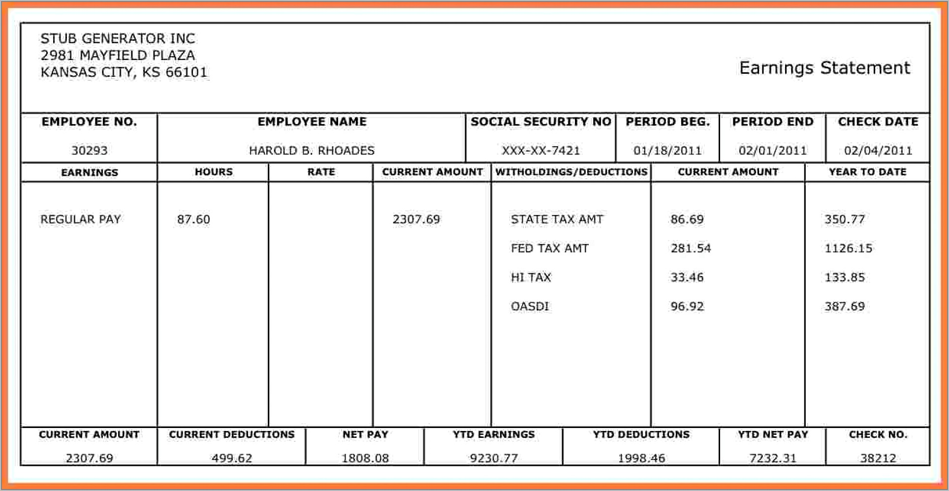 Template For Payroll Check Stub