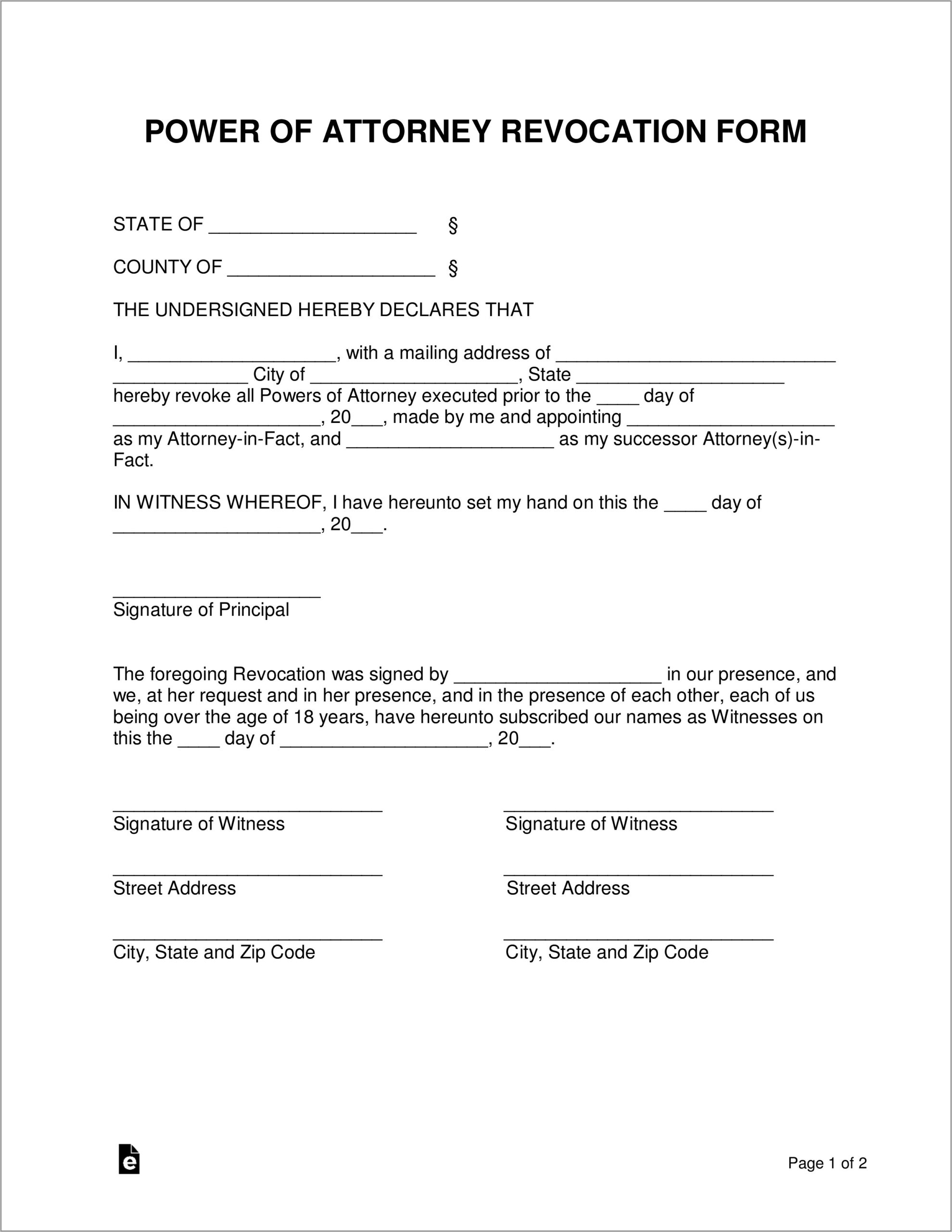 Template For Power Of Attorney