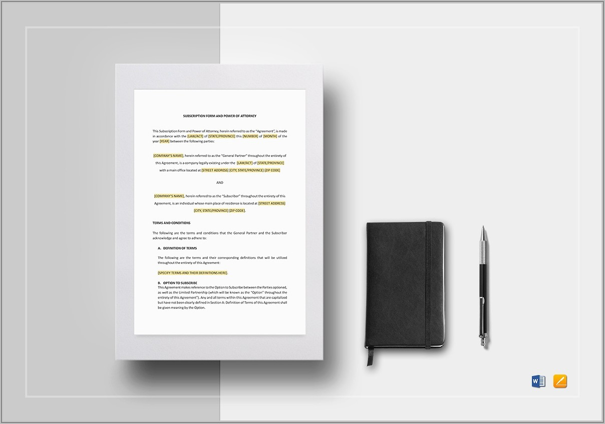 Template For Power Of Attorney Scotland