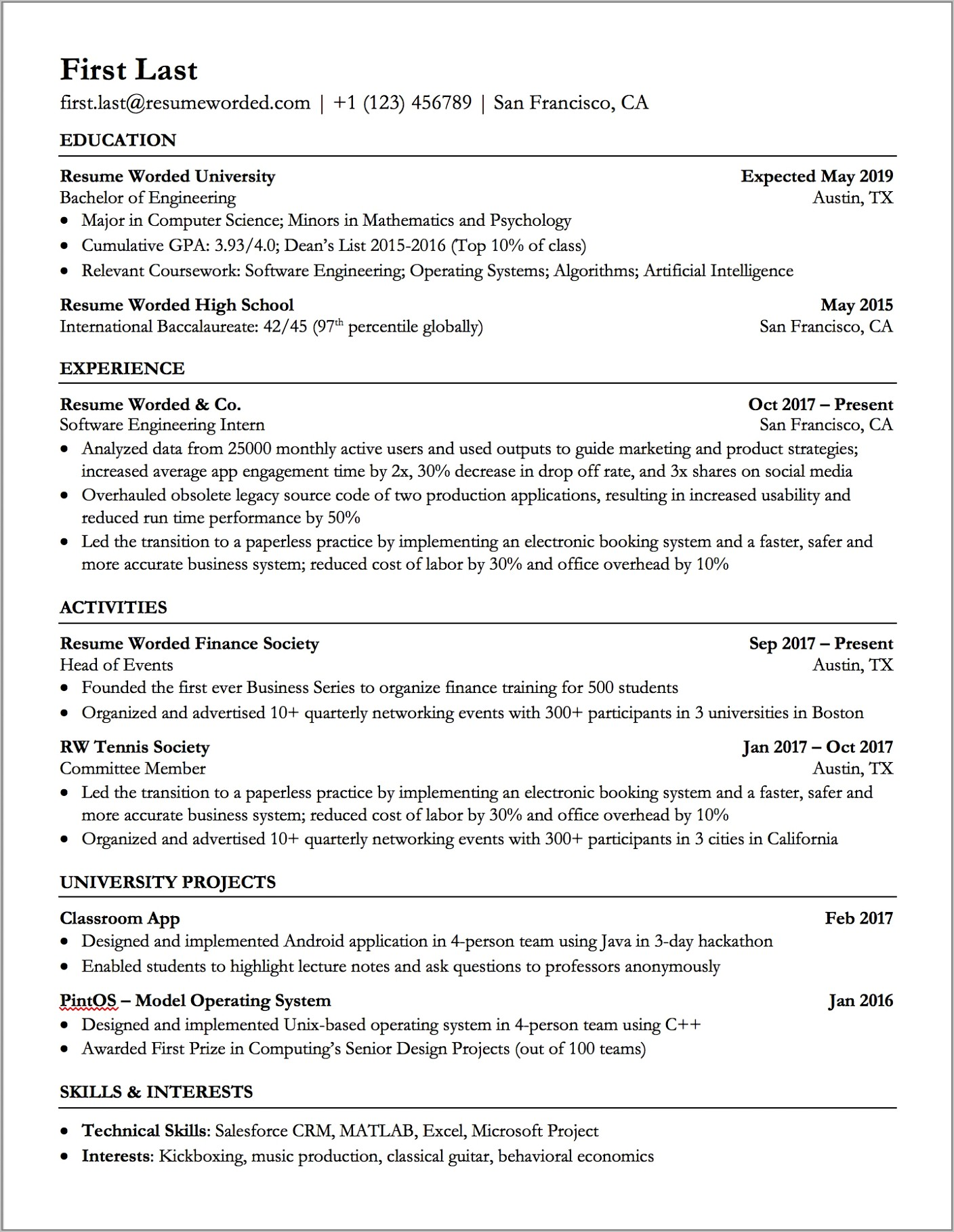 Template For Professional Resume In Word