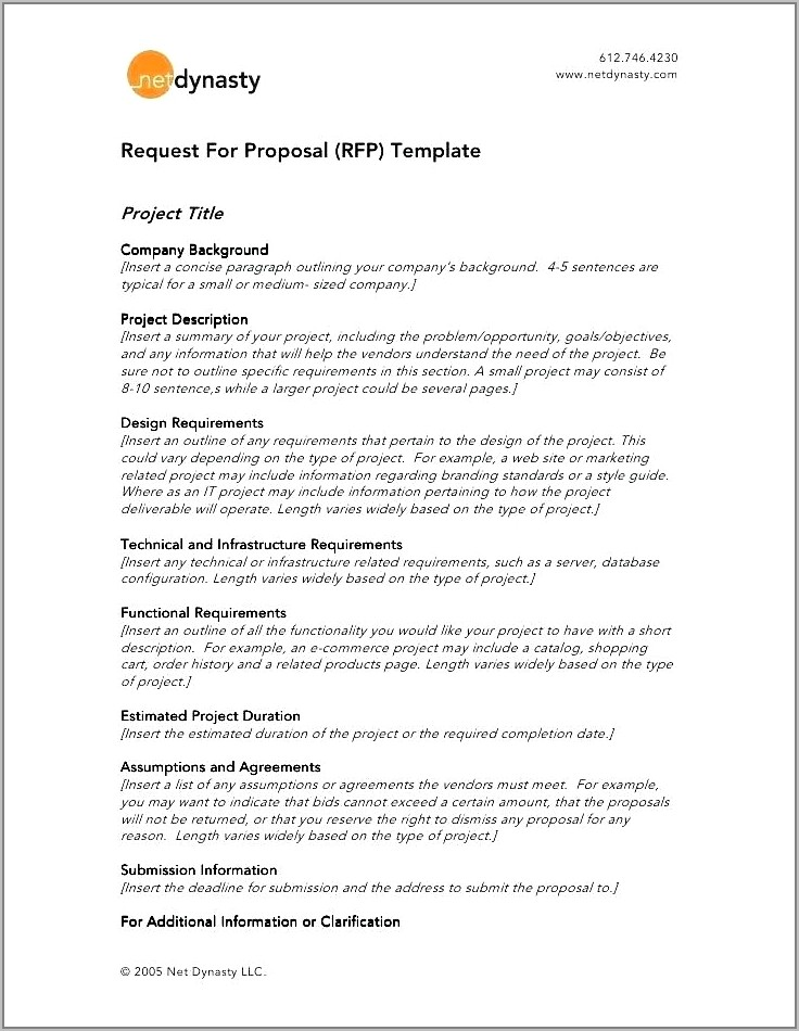 Template For Rfp Request For Proposal